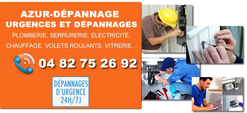 Dépannages Serrure, Plomberie, Climatisation, Chauffage, Volets Roulants, Vitrerie dans le 06